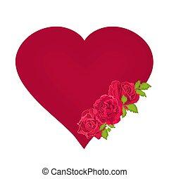 rotes herz, mit, rosen, valentinestag