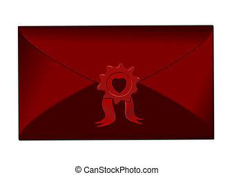Rotes Herz, Siegel, Briefkuvert, Verschlossen - briefkuvert,...