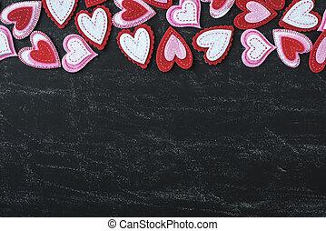 rotes , herzen, auf, a, tafel, für, valentinestag
