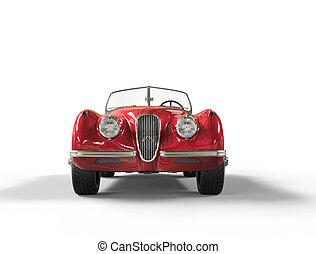 rotes , jahrgangsauto, weiß, hintergrund, bild, kugel, in, ultra, hoch, resolution.