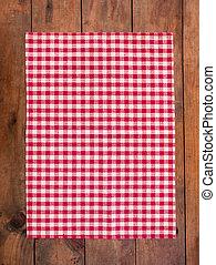 rotes , klassisch, checkered tablecloth, auf, holztisch, hintergrund, mit, kopieren platz