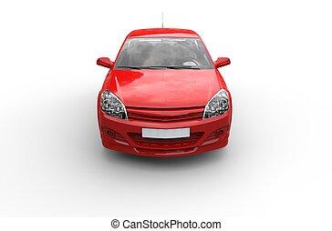 rotes , kompaktes auto, oberseite, vorderansicht