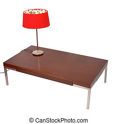 rotes , lampe, auf, a, coffe, tisch, freigestellt, weiß