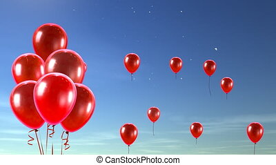 rotes , luftballone, fliegendes, zu, der, himmelsgewölbe