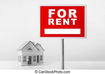 rotes , miete, immobilien- zeichen, vor, kleines haus, model.