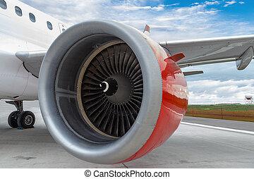 rotes , motor, von, a, kaufmännische flugzeug