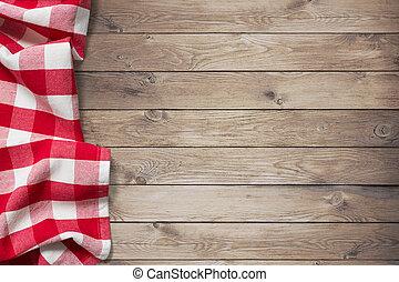 rotes , picknick, tischtuch, auf, holz, tisch, hintergrund