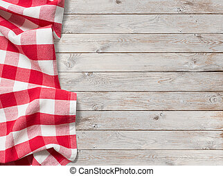 rotes , picknick, tischtuch, weiß, holz, hintergrund