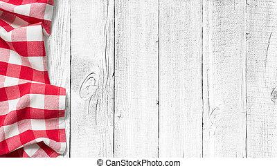 rotes , picknick, tischtuch, weiß, holz, tisch, hintergrund