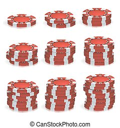 rotes , poker- späne, stapel, vector., 3d, realistisch, set., plastik, feuerhaken, spielen chips, zeichen, freigestellt, weiß, hintergrund., kasino, jackpot, erfolg, illustration.
