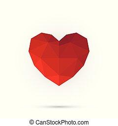 rotes , polygon, heart., glücklich, valentine, day., abstrakt, 3d, form, für, dein, design