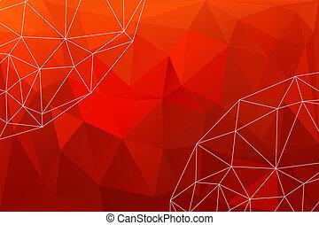 rotes , polygonal, hintergrund, abstrakt