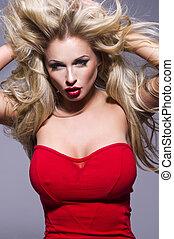 rotes , porträt, blond, haare, frau, lippen, schöne , lockig