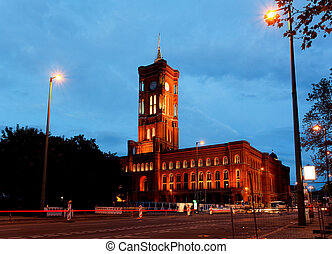 Rotes Rathaus at night in Berlin Germany