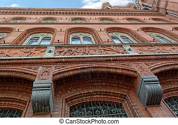 Rotes Rathaus in Berlin, Germany - Facade of Red Town Hall...