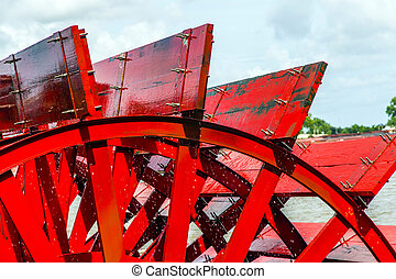 rotes , riverboat, paddel- rad, in, a, fluß, mit, bäume