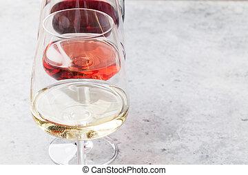 rotes , rose, und, weißwein, brille