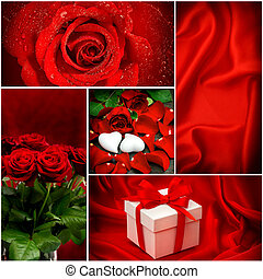 rotes , roses., hearts., geschenk, box., valentinestag