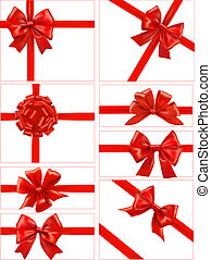 rotes , satz, verbeugungen, geschenk, ribbons.