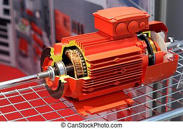 rotes , schnitt, elektromotor, dargestellt