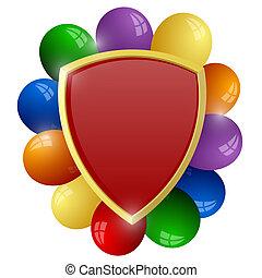 rotes , schutzschirm, mit, a, bündel, farbenprächtige luftballons