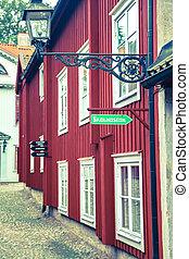 rotes , schweden, typisch, häusser