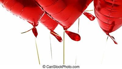 rotes , schwimmend, 4k, luft, luftballone
