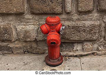 rotes , setting., hydrant, feuer, stadt