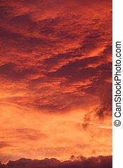 rotes , sonnenaufgang, wolkengebilde