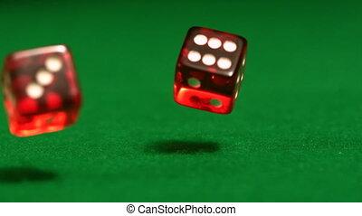 rotes , spielwürfel, rollen, auf, kasino, tisch