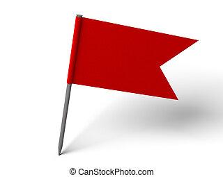 rotes , stift, fahne, aus, weißes, boden