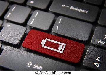 rotes , tastatur, schlüssel, niedrig, batterie, energie,...