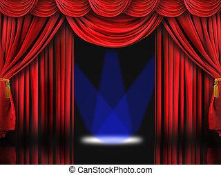 rotes , theater, buehne, mit, blaues, punkt- lichter
