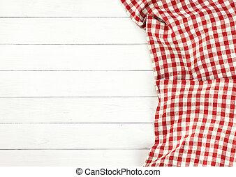 rotes tischtuch, weiß, holztisch