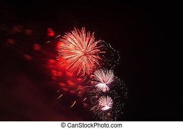 rotes , und, lila, feuerwerk, in, nacht himmel