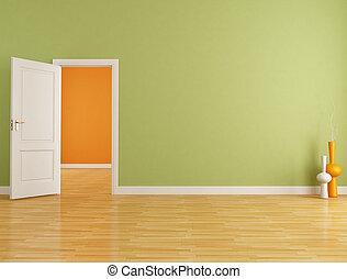 rotes , und, orange, leerer , inneneinrichtung
