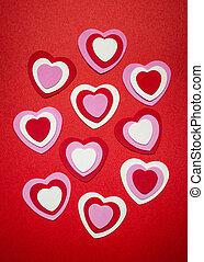 rotes , und, rosa, valentinestag, herzen