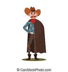 rotes , vektor, bandana, stiefeln, stehende , stil, hut, cowboy, amerikanische , karikatur, abbildung, wohnung, cloak.