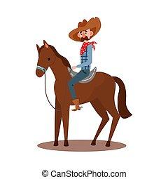 rotes , vektor, bandana, stil, pferd, hut, reiten, cowboy, boots., amerikanische , karikatur, abbildung, tragen, wohnung