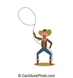 rotes , vektor, lustiges, lasso., stil, drehungen, bandana, cowboy, amerikanische , karikatur, abbildung, wohnung