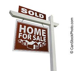 rotes , verkauft, daheim, verkauf, immobilien- zeichen, weiß