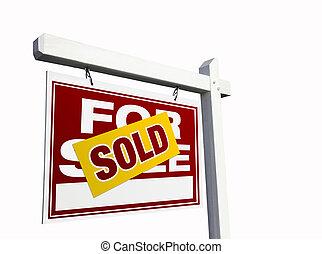 rotes , verkauft, verkauf, immobilien- zeichen, auf, white.