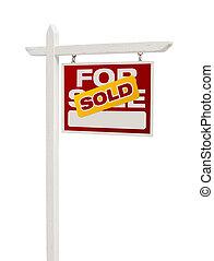 rotes , verkauft, verkauf, immobilien- zeichen, weiß