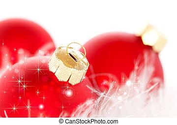 rotes , weihnachten, kugeln