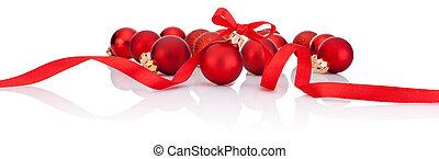 rotes , weihnachten, kugeln, mit, geschenkband, schleife, freigestellt, weiß, hintergrund