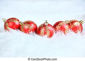 rotes , weihnachten, kugeln, mit, schnee, isol