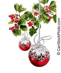 rotes , weihnachten, kugeln, weißdorn