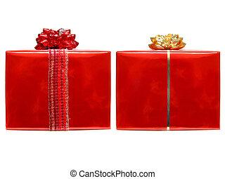 rotes , weihnachtsgeschenk, kästen, freigestellt