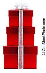 rotes , weihnachtsgeschenk, kästen, gestapelt