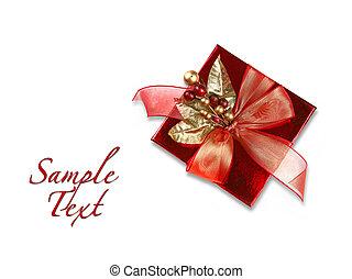 rotes , weihnachtsurlaub, geschenk, weiß, hintergrund